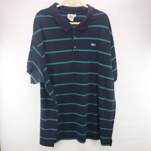 Lacoste Navy Green Striped Short Sleeve Polo 11R